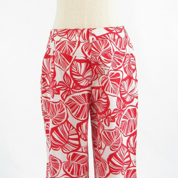 White red leaves cotton blend TALBOTS stretch straight leg cropped capri pants 8