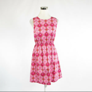 Fuchsia pink yellow geometric cotton blend ELLEN and OLLIE A-line dress 6