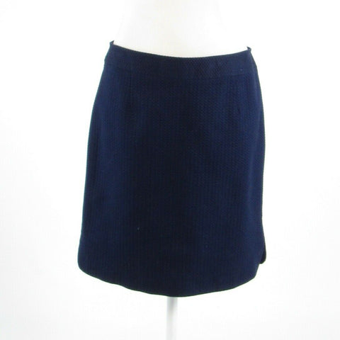 Navy blue textured cotton blend LAUNDRY BY SHELLI SEGAL pencil skirt 8