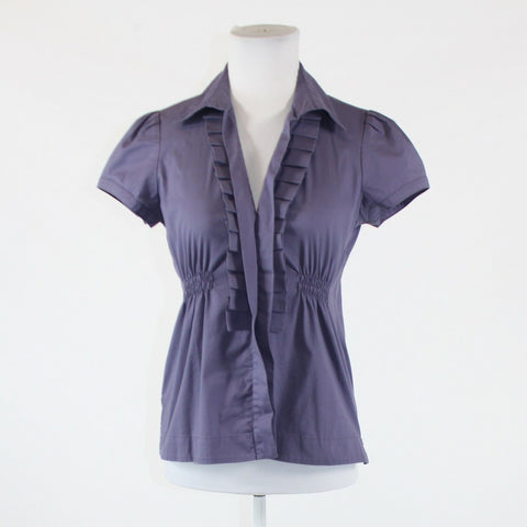 Dark purple stretch cotton blend ANN TAYLOR short sleeve pleated trim blouse 2