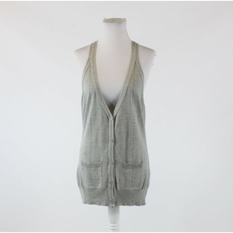 Gray cotton blend GEORGE sleeveless vest sweater UK14 12
