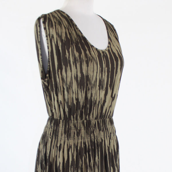 Brown print rayon BANANA REPUBLIC cap sleeve scoop neck stretch dress M-Newish