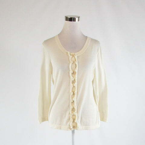 Cream 100% cotton BODEN 3/4 sleeve cardigan sweater 14