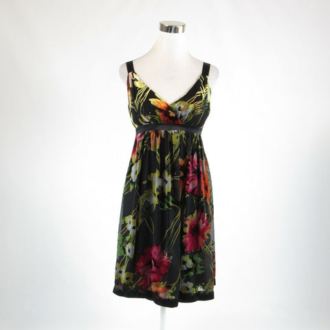 Black pink floral print SUE WONG sheer overlay sleeveless empire waist dress 6
