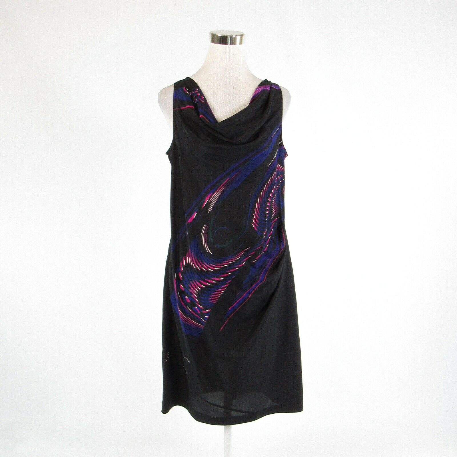 Black pink abstract silk blend DKNY NEW YORK stretch sleeveless shift dress 8-Newish