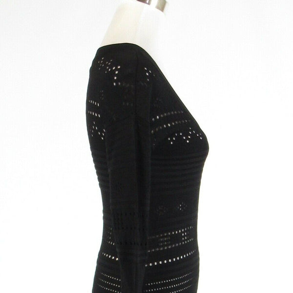 Black laser cut CATHERINE MALANDRINO stretch 3/4 sleeve bodycon dress XS