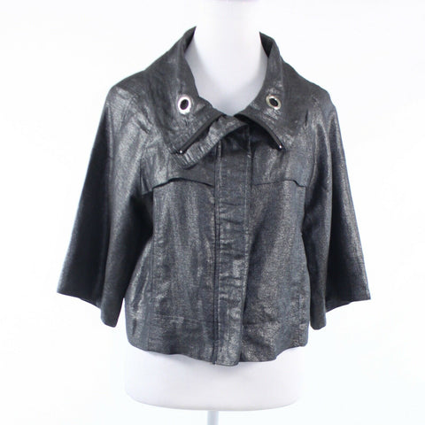 Charcoal gray shimmery faux leather SANDRO short kimono sleeve jacket M
