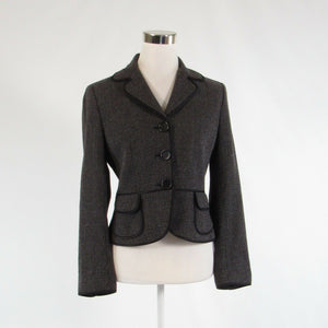 Dark brown tweed ANN TAYLOR long sleeve blazer jacket 6-Newish