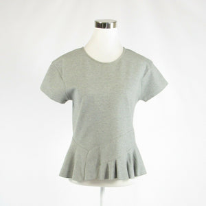 Heather gray cotton blend J. CREW stretch short sleeve peplum blouse S-Newish