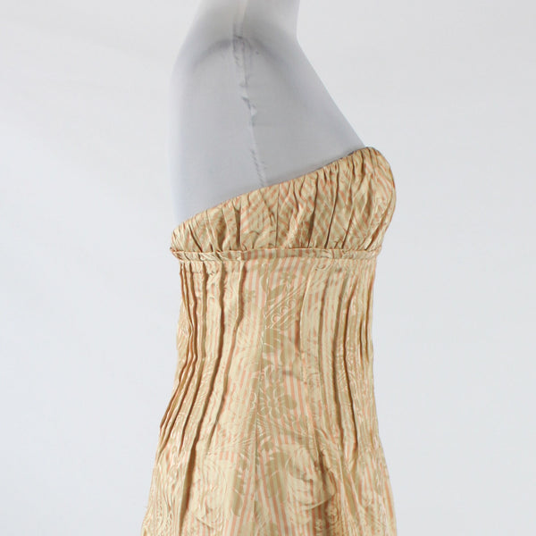 Cream light pink striped 100% silk KAY UNGER strapless knee-length dress 4