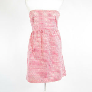 Pink white geometric cotton DIZZY LIZZIE strapless sheath dress S