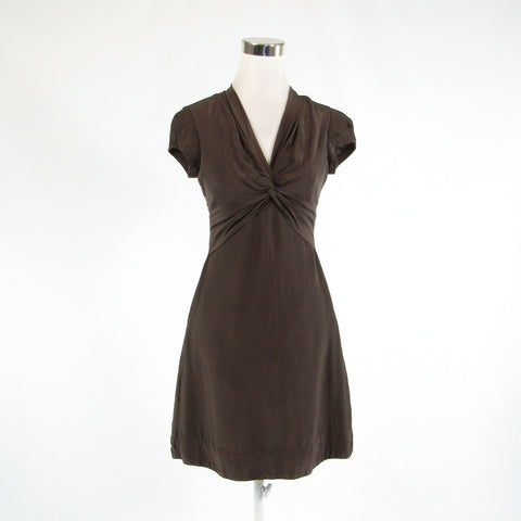 Cool brown 100% silk BANANA REPUBLIC knotted chest cap sleeve A-line dress 0