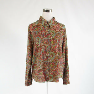 Light brown red paisley 100% cotton CHICO'S button down blouse 3 L 16