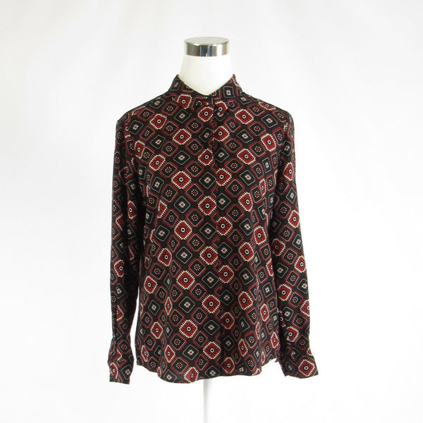 Black red geometric CARMEN MARC VALVO long sleeve button down blouse S-Newish