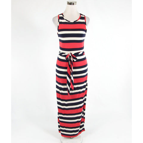 Navy blue red striped BANANA REPUBLIC stretch sleeveless maxi dress XS-Newish