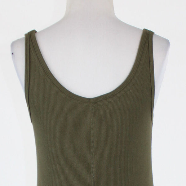 Dark green & gold cotton NEW YORK & COMPANY thin strap ribbed beaded tank L-Newish
