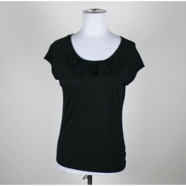 TALBOTS black cotton blend cap sleeve scoop neck pleated trim blouse S-Newish
