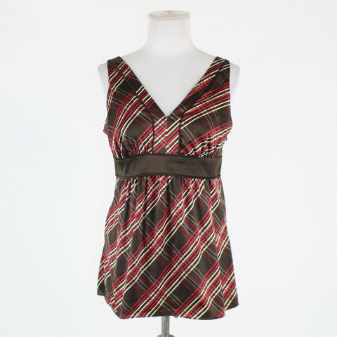 Brown ivory & red plaid sateen NEW YORK & COMPANY sleeveless V-neck blouse 4-Newish