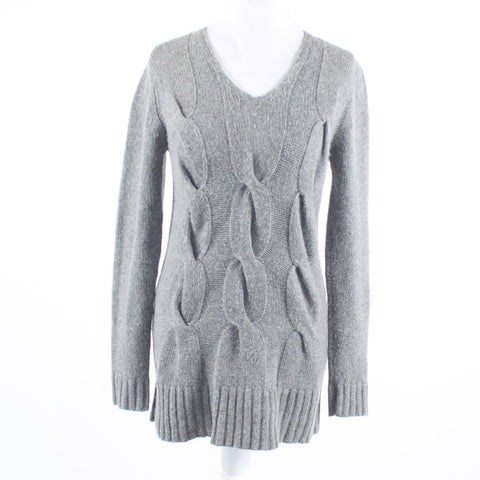 Heather gray cableknit JENNI BUTTON long sleeve V-neck sweater GR32 4