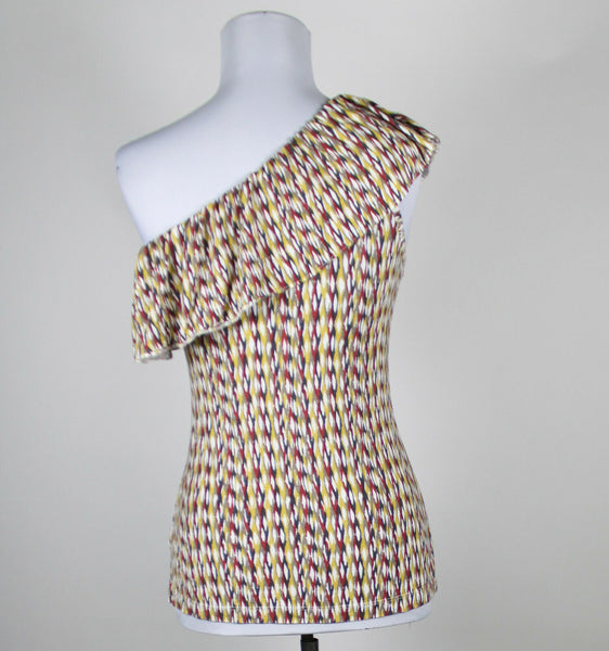 BANANA REPUBLIC white beige maroon yellow geometric rayon one shoulder blouse S-Newish