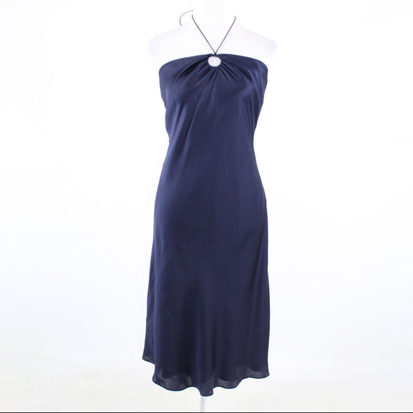 Navy blue satin LAUREN RALPH LAUREN halter neck sheath dress 10