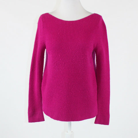 Bright pink GAP long sleeve boat neck seed stitch ribbed trim sweater S