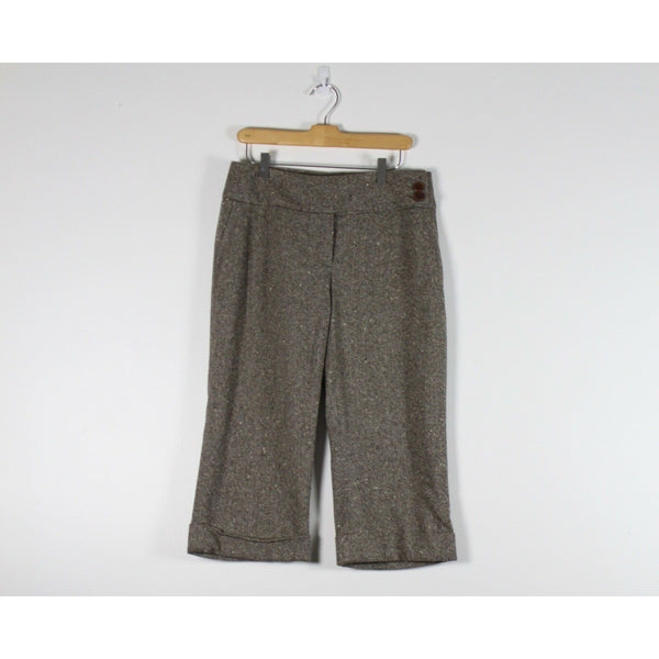 IDENTITY BY LORD & TAYLOR beige tweed wool blend cropped cuffed dress pants 8-Newish