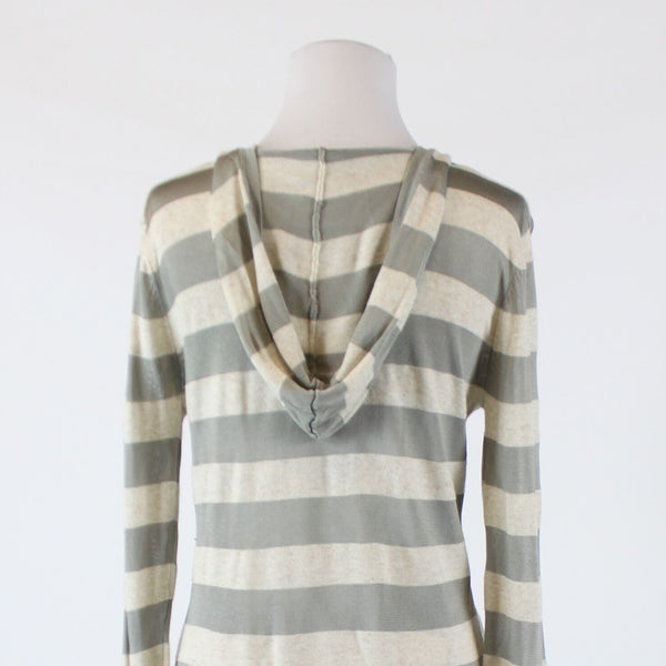 Light beige gray striped semi-sheer COLDWATER CREEK long sleeve hooded sweater M
