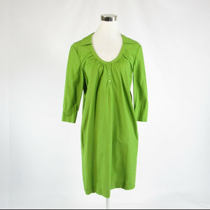 Bright green 100% cotton ALBERTA FERRETTI Philosophy 3/4 sleeve shift dress 4 40-Newish