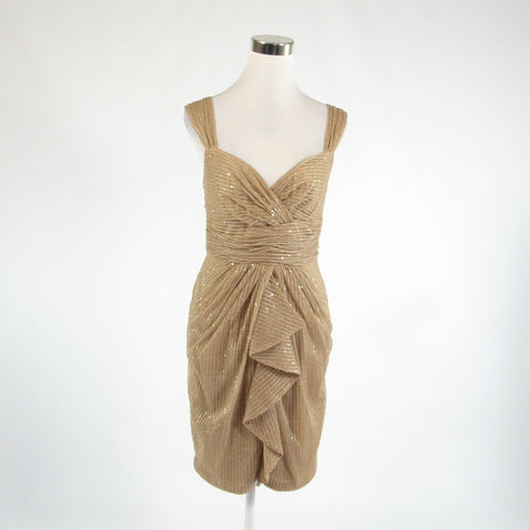 Beige DAVID MEISTER sequin trim sheer overlay sleeveless empire waist dress 6-Newish