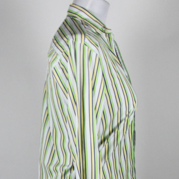 TAILORBYRD white yellow & green striped cotton long sleeve button down shirt PS-Newish