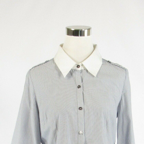 Light gray pinstripe 100% cotton NORDSTROM 3/4 sleeve button down blouse M-Newish