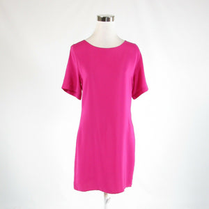 Bright pink satin AMANDA UPRICHARD short sleeve sheath dress M