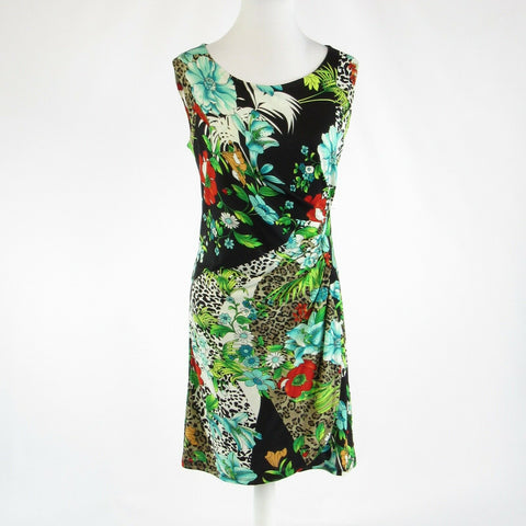 Black green floral print NICOLE BENNISTI stretch sleeveless sheath dress S-Newish