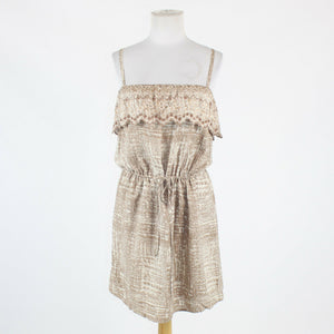 Beige and white geometric rayon LU PRUIQ spaghetti strap above knee dress S-Newish