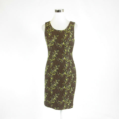 Brown green camouflage ETCETERA sleeveless sheath dress 2-Newish