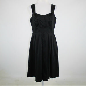 SAKS FIFTH AVENUE dress 12 black cotton blend sleeveless A-line