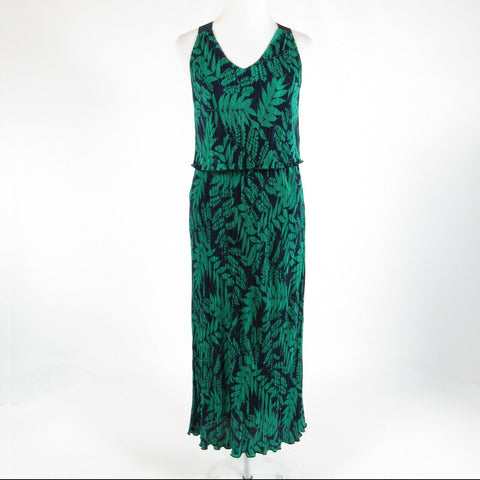 Green blue floral print BANANA REPUBLIC sleeveless maxi dress XPS