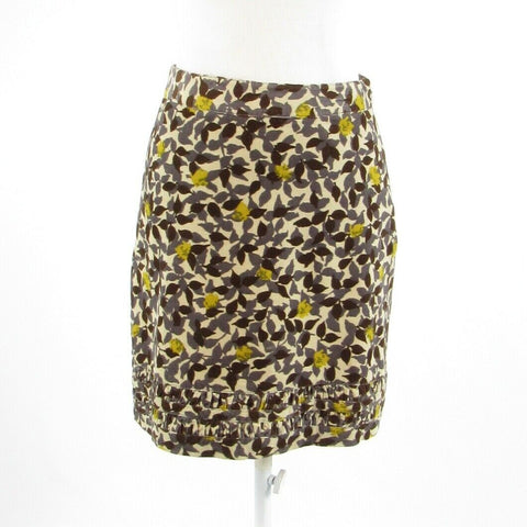 Cream brown floral print 100% cotton BODEN pencil skirt 4