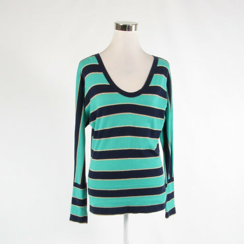 Teal green blue striped cotton blend LILLY PULITZER scoop neck sweater S