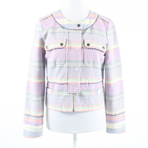 Lavender purple red uneven striped 100% cotton J. CREW jacket 6