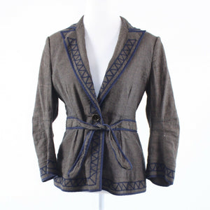 Cool brown blue geometric linen blend BCBG MAX AZRIA 3/4 sleeve jacket M-Newish
