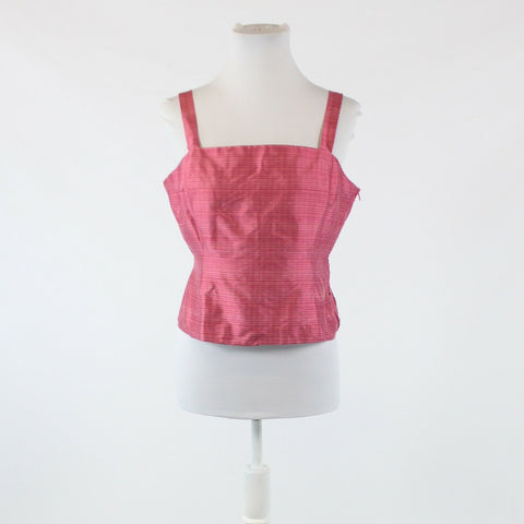 Dark pink plaid 100% silk JONES NEW YORK thin strap cropped blouse 10