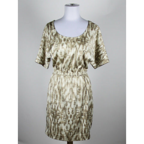 ANN TAYLOR ivory beige & brown geometric short sleeve stretch blouson dress 2-Newish