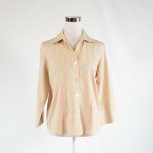 Beige pink striped 100% cotton TALBOTS 3/4 sleeve button down blouse 8