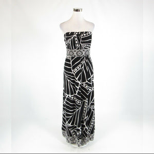 Black white geometric WHITE HOUSE BLACK MARKET stretch sleeveless maxi dress S-Newish
