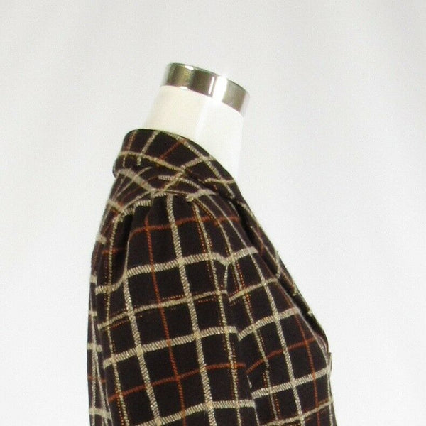 Dark brown beige plaid 100% wool ALEX GAINES 3/4 sleeve jacket 6-Newish