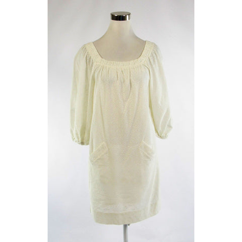 Ivory eyelet BCBG MAX AZRIA stretch 3/4 sleeve shift dress 0