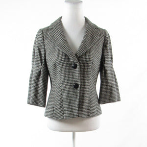 Black gray houndstooth wool ANN TAYLOR 3/4 sleeve jacket 4-Newish