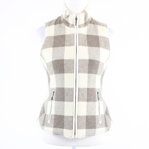 Ivory taupe plaid tweed quilted reversible PENDLETON sleeveless zip up vest PP